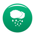 cloud rain icon green vector image