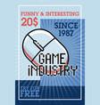 color vintage game industry banner vector image vector image