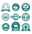 Eco farm milk dairy products emblems