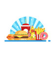 fast food set composition vector image