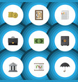 flat icon gain set of strongbox document diagram vector image vector image