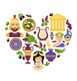 Greece symbols heart vector image vector image