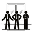 group of business people with window teamwork vector image vector image