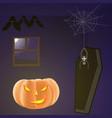 halloween dark room with pumpkin bats spider and vector image vector image