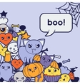 Halloween kawaii greeting card with cute doodles vector image vector image