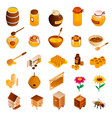 honey icon set isometric style vector image