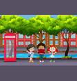 international children in urban city vector image vector image
