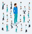 isometric medical staff doctor surgeon nurse vector image