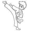 karate kick boy line art vector image