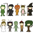 Kids in halloween costumes vector image vector image