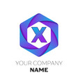 letter x logo symbol on colorful hexagonal vector image vector image
