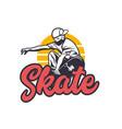 logo design skate with man playing skateboard vector image
