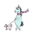 lovely hand-drawn unicorn-girl in a scarf walking vector image