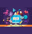 online toys shop background vector image