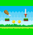 pixel art game background with reward objects food vector image vector image