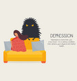 poster with depressed lonely girl and her fear vector image