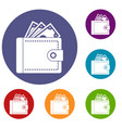 purse with money icons set vector image vector image