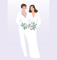 queer wedding couple of newly married lesbian vector image vector image