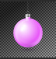 realistic pink christmas ball with silver ribbon vector image