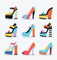 retro colorful and trendy women platform shoes set vector image vector image
