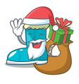 santa with gift winter boot in shape cartoon funny vector image vector image
