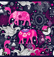 seamless lovely pattern elephants on a floral vector image vector image