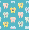 seamless pattern with cute colorful teeth vector image