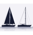 Set of luxury yachts silhouette