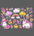 set of stickers patches badges pins prints for vector image