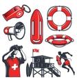 set vintage lifeguard elements vector image vector image