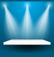 spotlights shining on a shelf vector image vector image