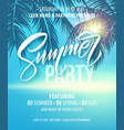 summer party poster palm leaf and sea background vector image vector image
