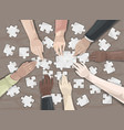 teamwork puzzle collaboration concept vector image