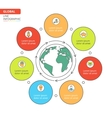 Thin line flat global infographic vector image