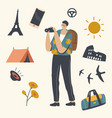 tourist making picture on photo camera male vector image vector image