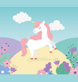 unicorn meadow flowers nature fantasy magic cute vector image