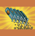 video card pours cryptocurrency bitcoin vector image vector image