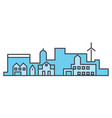 village skyline line icon concept village skyline vector image