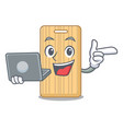 with laptop wooden cutting board character cartoon vector image