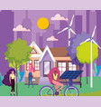 women riding bike and walk in city ecology vector image