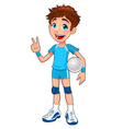 Young volleyball player vector image vector image