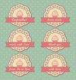 Cupcakes retro style tags set on retro polka dots vector image