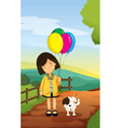 A girl and dog vector | Price: 1 Credit (USD $1)
