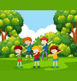 a group of children dancing at the park vector image vector image