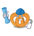 architect pretzel character cartoon style vector image vector image