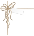 Background with rope bow and ribbons vector image vector image