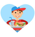 boy carries a tray of food vector image vector image