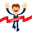 businessman running through finish line ribbon vector image