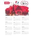 Calendar 2016Paris Landmarks panoramawatercolor vector image vector image