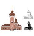 cartoon church of catholic denomination decorated vector image